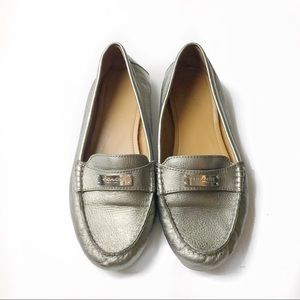 Coach metallic silver leather loafer flats slipon